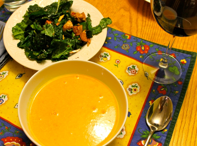 Image - Carrot Ginger Soup with Kale, Apple & Almond Salad