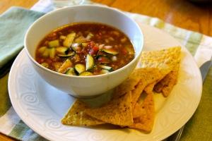 gazpacho soup & corn chips